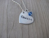 Personalized Heart Necklace- Hand-Stamped heart with a name of your choice -Necklace with an accent bead in your choice of colors
