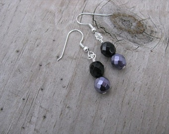 Metallic Purple and Black Glass Beaded Earrings