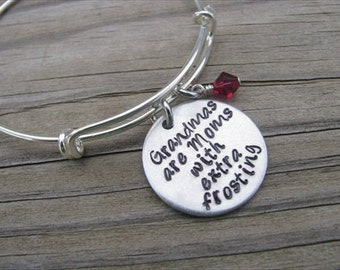 "Grandma Bracelet- Gift for Grandma-- hand-stamped bracelet- ""Grandmas are Moms with extra frosting"" and an accent bead of your choice"