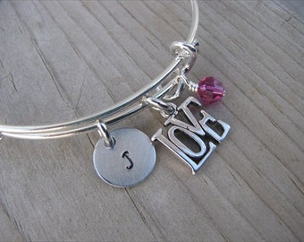 Love Bangle Bracelet- Adjustable Bangle Bracelet with Hand-Stamped Initial, LOVE Charm, and accent bead
