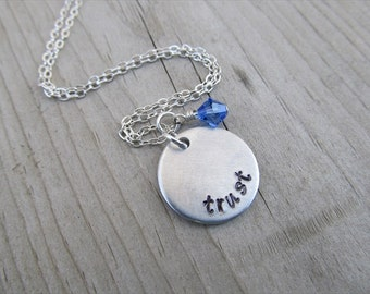 "Trust Inspiration Necklace- hand-stamped with ""trust"" and an accent bead of your choice- Hand-Stamped Necklace by Jenn's Handmade Jewelry"