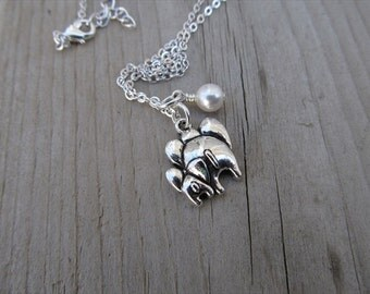 Elephant Necklace -Mother and Baby Elephant Bums with an accent bead in your choice of colors