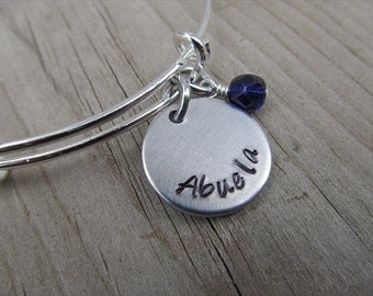 """Spanish Grandmother's Bracelet- Hand-Stamped """"Abuela"""" with an accent bead in your choice of colors- Hand-Stamped Jewelry"""