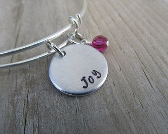 "Inspiration Bracelet- Hand-Stamped ""Joy"" Bracelet with an accent bead in your choice of colors"