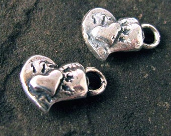 Sterling Silver Double Love Heart Charms - 2 Pc AC114
