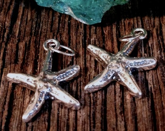 2 Starfish Charms in Sterling Silver  - 925 Hallmarked SS Ocean Beachy Theme Pendants - C143