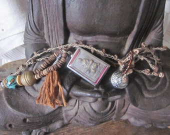 Natural HandmadeThai Blessed Buddha Clay Amulet Pendant Necklace, Buddha, Buddhism, Boho,Natural linen Thread, Natural coconut beads,