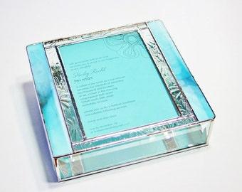 Stained Glass Keepsake Memory Box Bat Mitzvah Wedding Invitation Bride Groom Photograph 8x8x2 Handmade Custom Made-to-Order