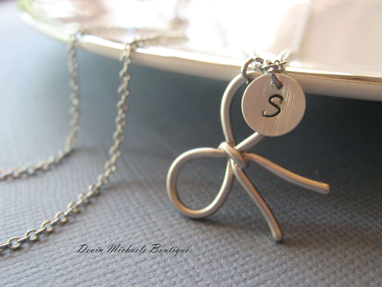 The Knot Wedding Gifts: Personalized Bow Necklace Tie The Knot Necklace Bridesmaid