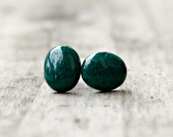 Titanium Earrings, Green Mountain Jade Oval 10x8mm Cabochons on Hypoallergenic Posts