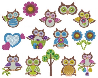 OWLS 2 - Machine Embroidery - Instant Digital Download