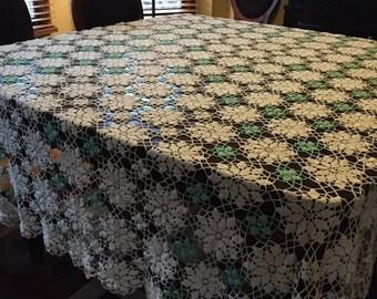 Vintage Lace Crochet Tablecloth