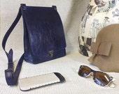 Crossbody travel purse - NAVY leather