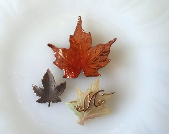Vintage Collection of Maple Leaf Brooches Sterling Mother of Pearl and Copper