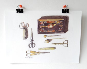 Watercolor print-Sewing set with box/still life watercolor