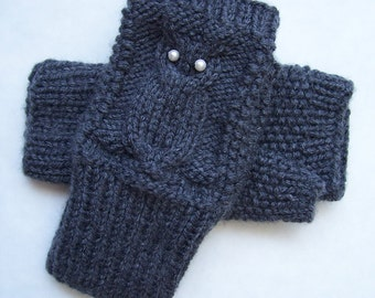 Fingerless Owl Mittens Hand knitted in Dark Gray.Owl mittens.Made to Order.