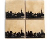 New York Skyline Coaster Set (4 Stone Coasters, Black & White) NYC Cityscape Home Decor, Christmas Gift Stocking Stuffers