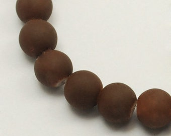 Brown Beads 8mm Beads Rubberized Glass Beads Wholesale Beads BULK Beads 105 pieces
