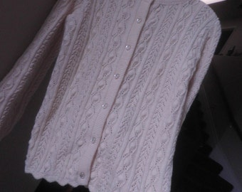 Granny's Cardigan SWEATER, Ivory with perlized shank buttons, size 10-12