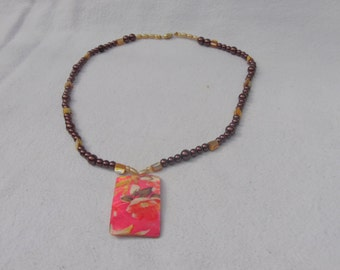 Chocolate Crystazzi Pearls with Floral Pendant