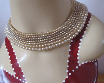 1940's Pearl Beaded Choker Collar Necklace, Japan