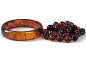 Vintage Root Beer Bakelite Hand Knotted Necklace Bracelet Combo