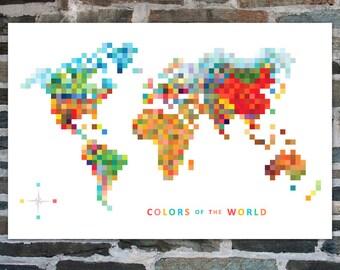 World Map | Pixel Map 'Colors of the World' Map Wall Art - Travel Map, Map of the World, World Map Print, Modern Wall Art, Pixel Art - 30x20