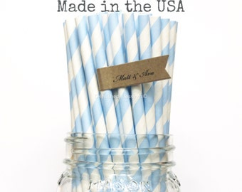 Baby Blue Paper Straws 50 Light Blue Striped Paper Straws, Powder Blue Paper Straws, Baby Shower Wedding Straws Birthday Party, Made in USA