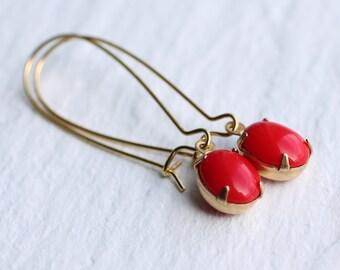 Red Berry Earrings ... Holly Scarlet Vintage Jewels