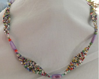 Beaded Elliptical and Mother of Pearl Necklace