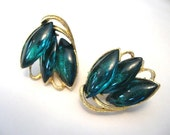 Vintage Green Lucite Cabochon Earrings