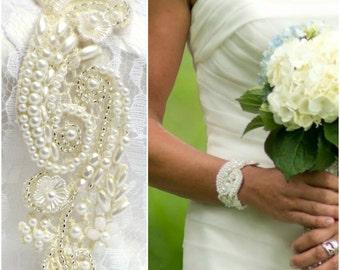 PEARL CUFF BRACELET Bridal Cuff Bracelet Beaded Cuff Bracelet Lace cuff Bracelet Wedding Cuff Bracelet ivory lace bracelet bride bracelet