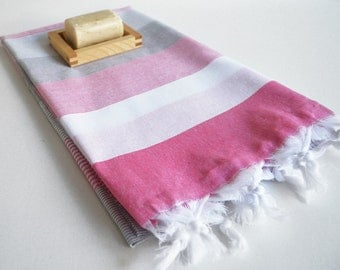 SALE 50% OFF Bathstyle Turkish BATH Towel Peshtemal - Gray - Pink - Beach, Spa, Swim, Pool Towels and Pareo