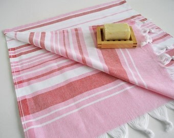 SALE 50 OFF/ SET 2 Towels / Head and Hand Towel / Pink - Red Striped