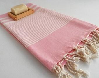 SALE 50 OFF/ Turkish Beach Bath Towel / Classic Peshtemal / Light Pink / Wedding Gift, Spa, Swim, Pool Towels and Pareo