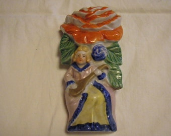 Ceramic Wall Pocket Woman with Mandolin, Vintage Made in Japan