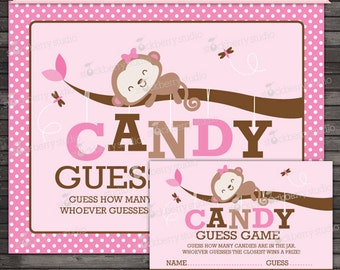Girl Monkey Baby Shower Candy Guessing Game - Girl Baby Shower Games Printable - Instant Download - Brown Pink Baby Shower Games
