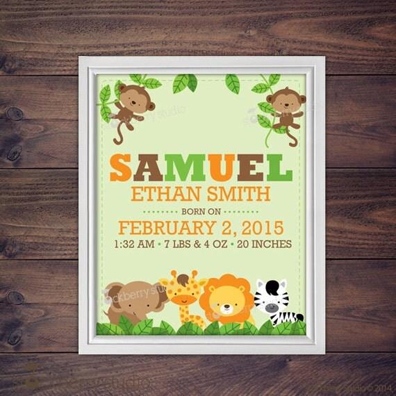 Jungle Nursery Art - Birth Stats Wall Art Printable - Boy Nursery ...
