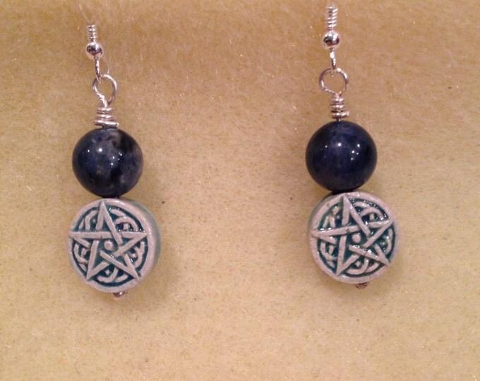 Dumortierite Celtic Star Bead Earrings - Raku Ceramic Pentacle Pentagram Bead & 8mm round blue Dumortierite + Sterling Silver Findings