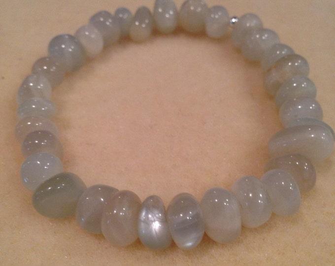 Moonstone Bracelet, Moonstone Nugget Bracelet, 8mm Stretch Bead Bracelet, Yoga Bracelet, Meditation Bracelet