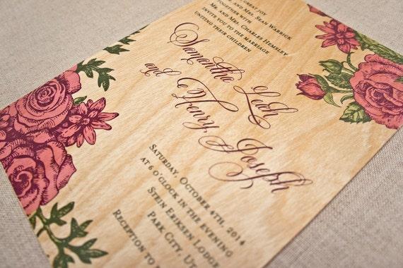 Real Wood Wedding Invitations: Real Wood Wedding Invitations Rose Garden