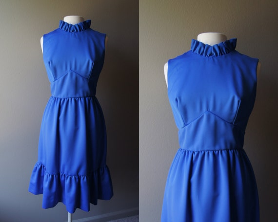 Vintage Royal Blue Sleeveless Empire Waist Dress - Small Medium