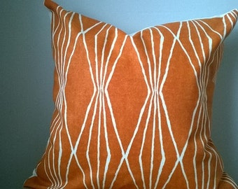 Designer fabric Robert Allen Dwell Studio geometric fabric throw pillow cover orange white graphic