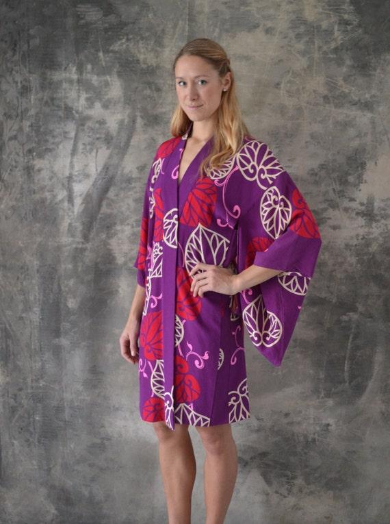 Vintage Purple and Pink Silk Kimono