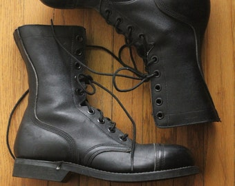 Vintage 90's Black Leather Military Issue Steel Toe Combat Boots by Biltrite, size 7