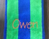 Personalized monogram beach towel blue and green cabana stripe