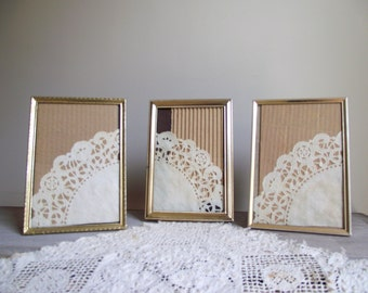 Vintage 5 x 7 Gold Tone Metal Photo Frames | Ornate Picture Frames | Set of 3 Instant Collection | Photo Display Frames | Wedding Decor