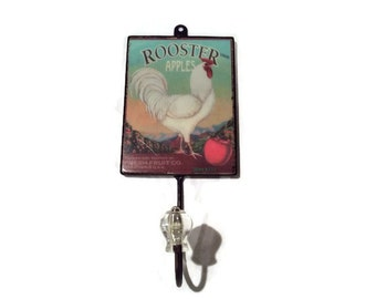 Retro country farmhouse chicken hook wall kitchen vintage shabby chic cottage farm Rooster Apple rustic decor