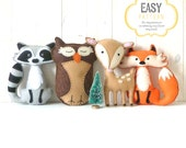 Woodland Stuffed Animal Patterns, Felt Fox Owl Deer Raccoon Plushie Patterns, Deer Fox Owl Raccoon Softie Patterns