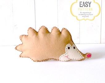 Hedgehog Sewing Pattern, Hedgehog Stuffed Animal Hand Sewing Pattern, Felt Hedgehog, Hedgie Plushie, Hedgie Softie